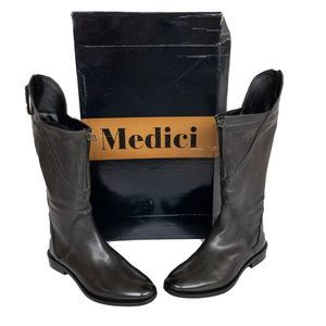Medici Gray Zippered Leather Riding Boots 10